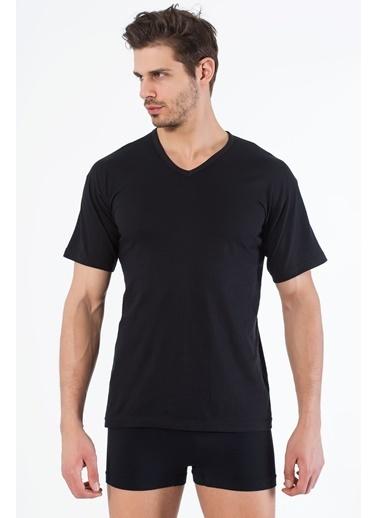 Siyah İnci 2'li Pamuklu V Yaka Kısa Kol T-Shirt Siyah